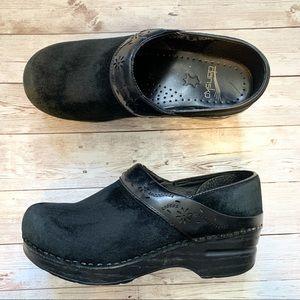 DANSKO Black Suede Laser Leather Slip On Clogs